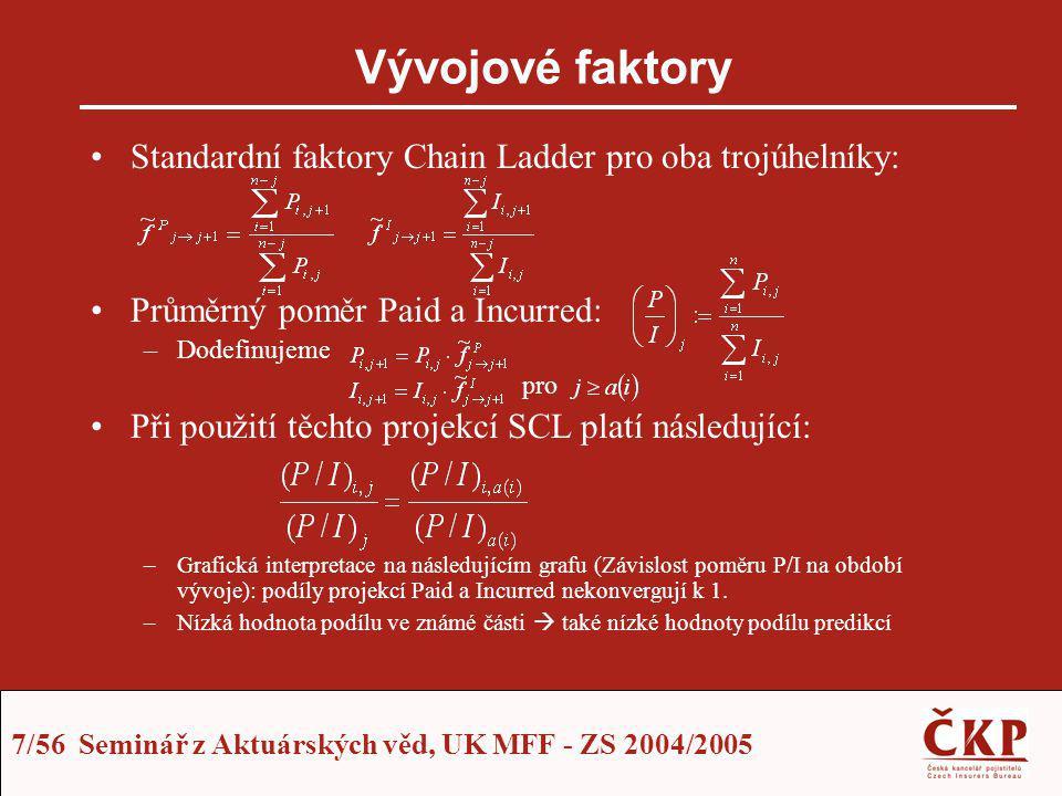 7/56 Seminář z Aktuárských věd, UK MFF - ZS 2004/2005 Vývojové faktory Standardní faktory Chain Ladder pro oba trojúhelníky: Průměrný poměr Paid a Inc