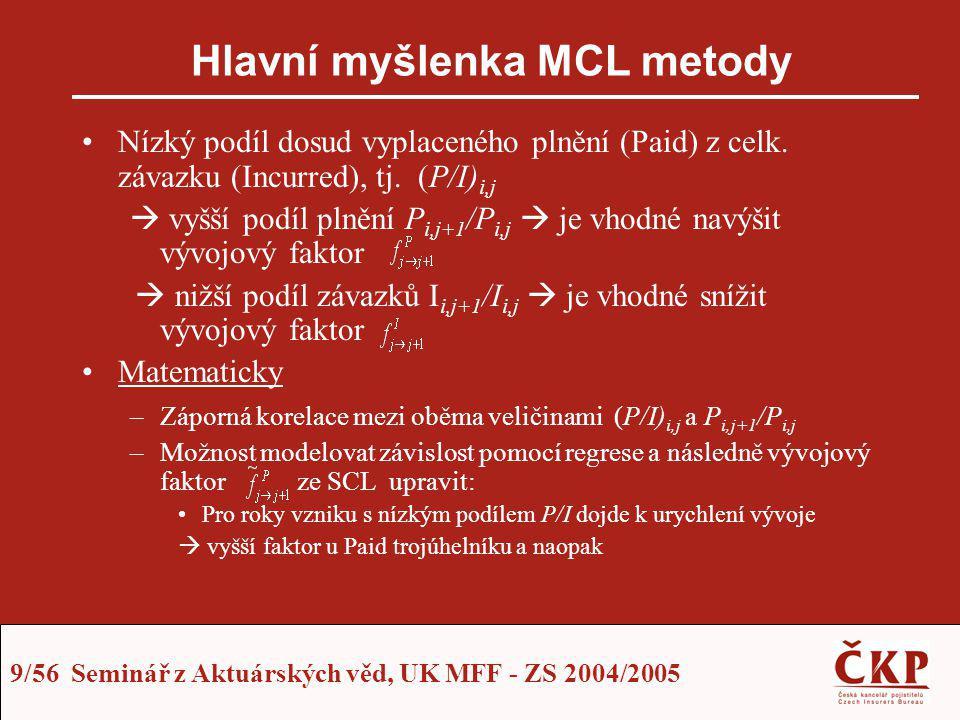 9/56 Seminář z Aktuárských věd, UK MFF - ZS 2004/2005 Hlavní myšlenka MCL metody Nízký podíl dosud vyplaceného plnění (Paid) z celk. závazku (Incurred