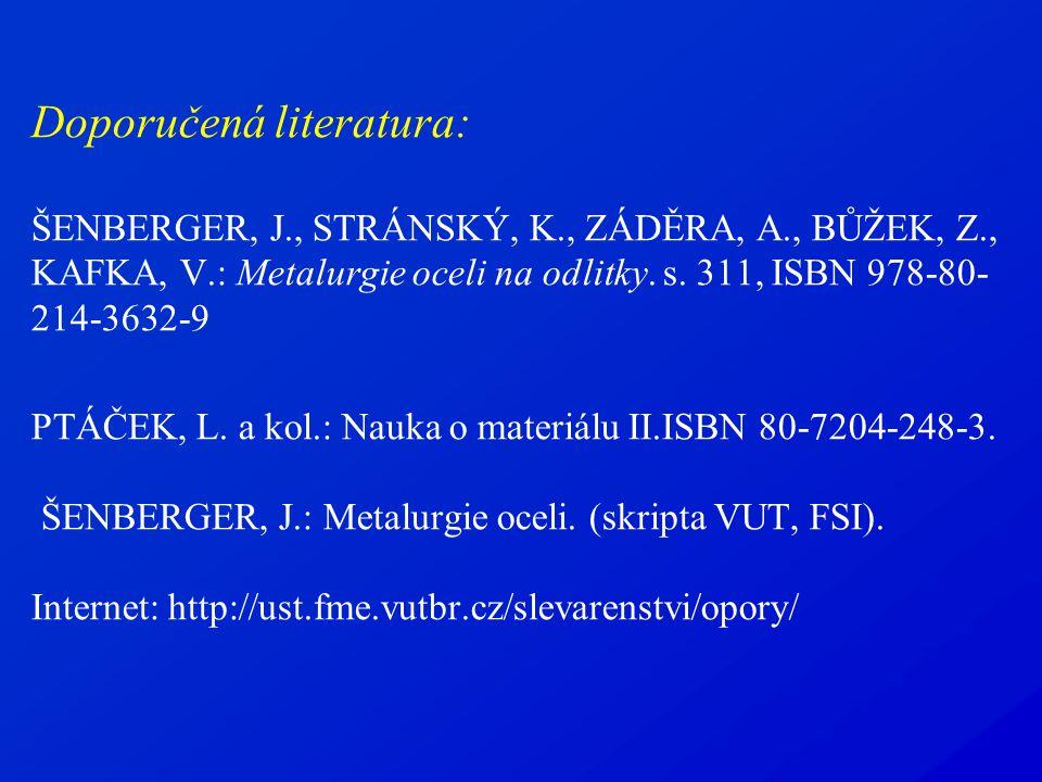 Doporučená literatura: ŠENBERGER, J., STRÁNSKÝ, K., ZÁDĚRA, A., BŮŽEK, Z., KAFKA, V.: Metalurgie oceli na odlitky. s. 311, ISBN 978-80- 214-3632-9 PTÁ