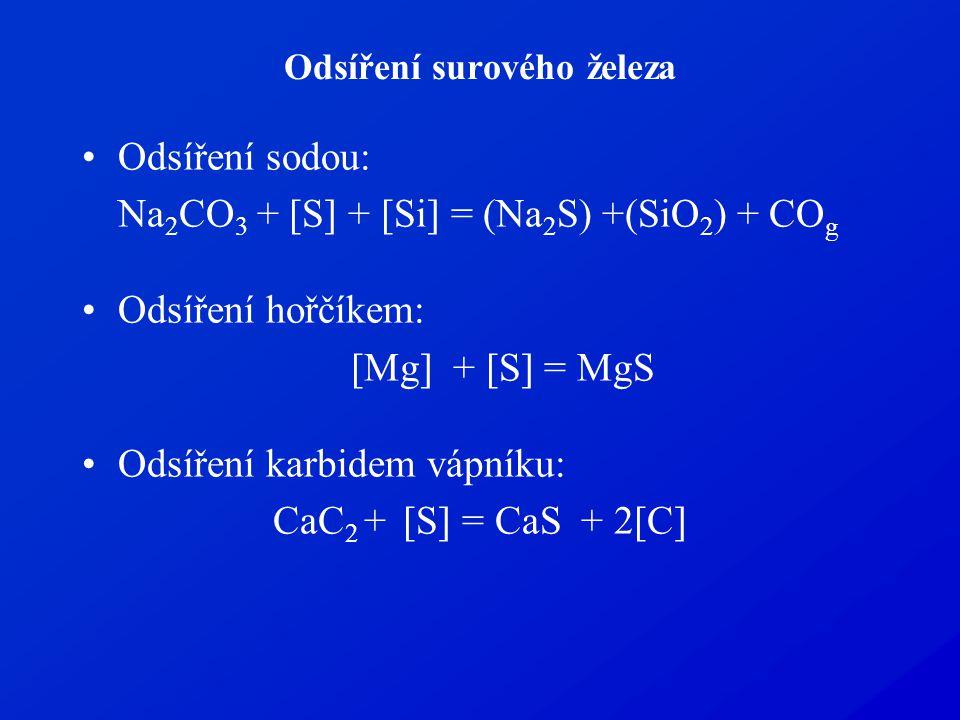 Odsíření surového železa Odsíření sodou: Na 2 CO 3 + [S] + [Si] = (Na 2 S) +(SiO 2 ) + CO g Odsíření hořčíkem: [Mg] + [S] = MgS Odsíření karbidem vápn