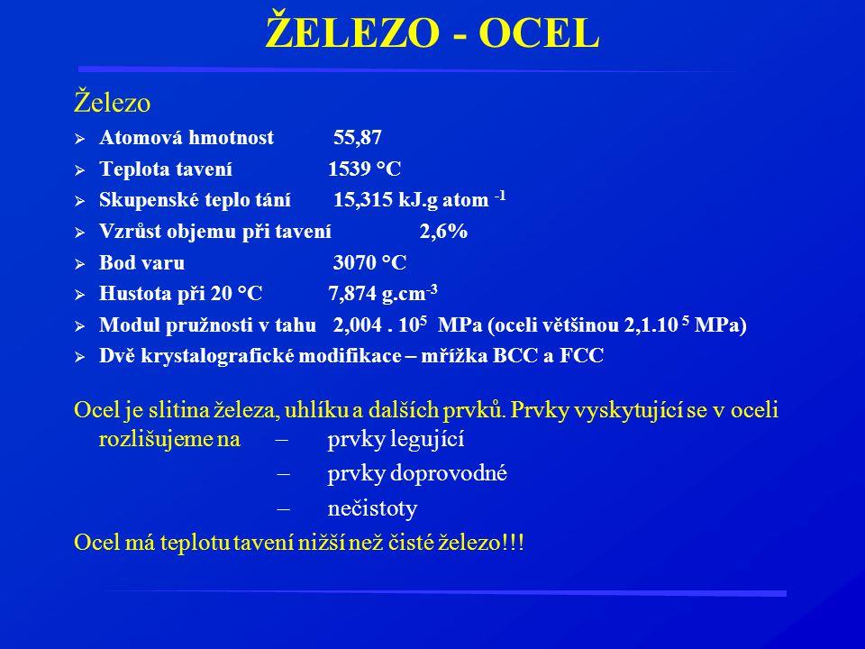 ŽELEZO - OCEL Železo  Atomová hmotnost55,87  Teplota tavení1539 °C  Skupenské teplo tání15,315 kJ.g atom -1  Vzrůst objemu při tavení2,6%  Bod va