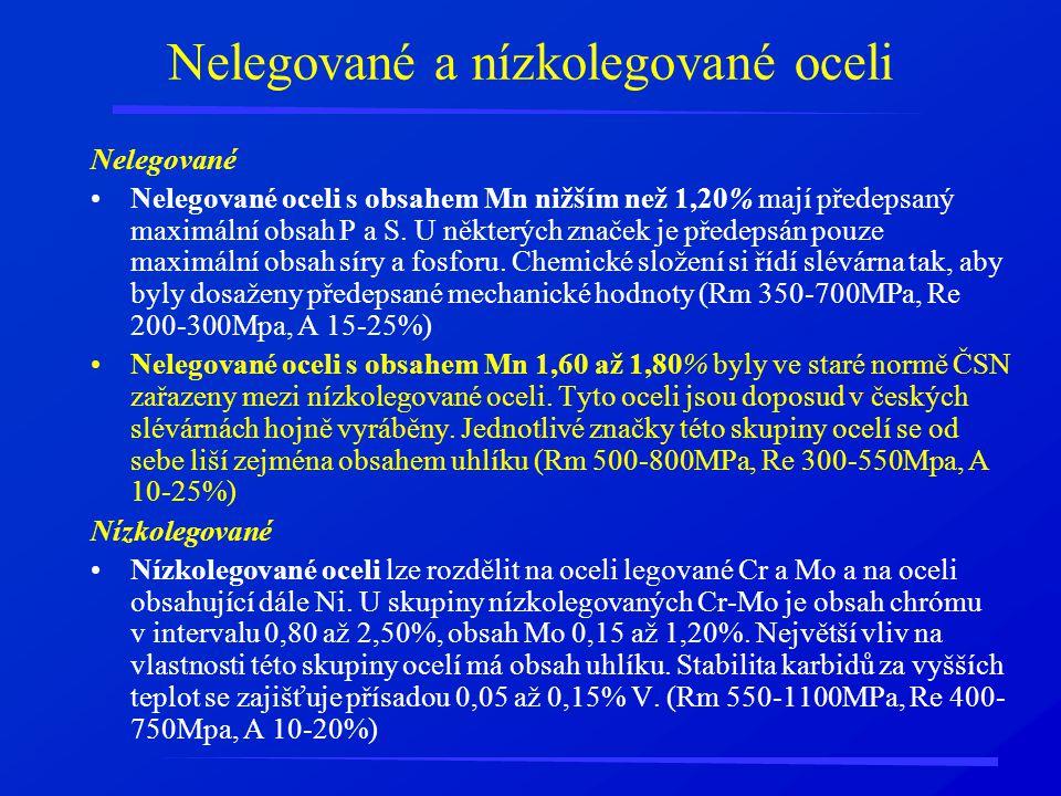 Nelegované a nízkolegované oceli Nelegované Nelegované oceli s obsahem Mn nižším než 1,20% mají předepsaný maximální obsah P a S. U některých značek j
