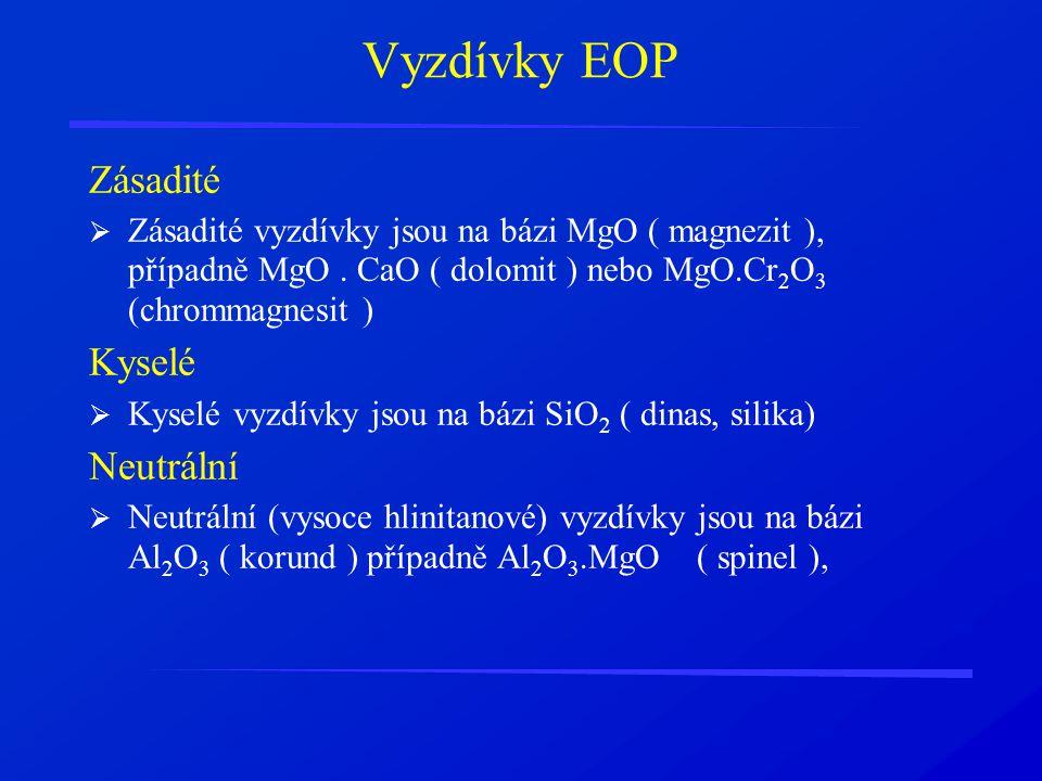 Vyzdívky EOP Zásadité  Zásadité vyzdívky jsou na bázi MgO ( magnezit ), případně MgO. CaO ( dolomit ) nebo MgO.Cr 2 O 3 (chrommagnesit ) Kyselé  Kys