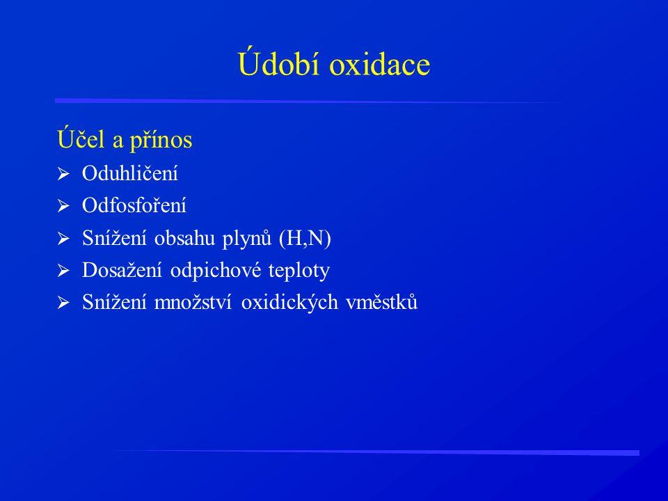 Údobí oxidace Účel a přínos  Oduhličení  Odfosfoření  Snížení obsahu plynů (H,N)  Dosažení odpichové teploty  Snížení množství oxidických vměstků
