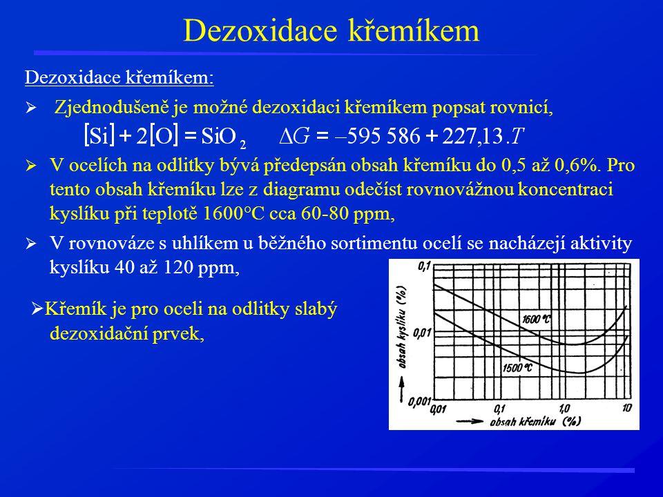Dezoxidace křemíkem Dezoxidace křemíkem:  Zjednodušeně je možné dezoxidaci křemíkem popsat rovnicí,  V ocelích na odlitky bývá předepsán obsah křemí