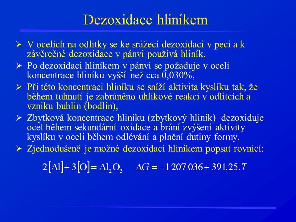 Dezoxidace hliníkem  V ocelích na odlitky se ke srážecí dezoxidaci v peci a k závěrečné dezoxidace v pánvi používá hliník,  Po dezoxidaci hliníkem v