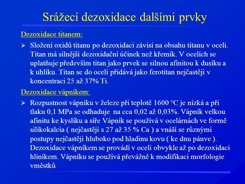 Srážecí dezoxidace dalšími prvky Dezoxidace titanem:  Složení oxidů titanu po dezoxidaci závisí na obsahu titanu v oceli. Titan má silnější dezoxidač