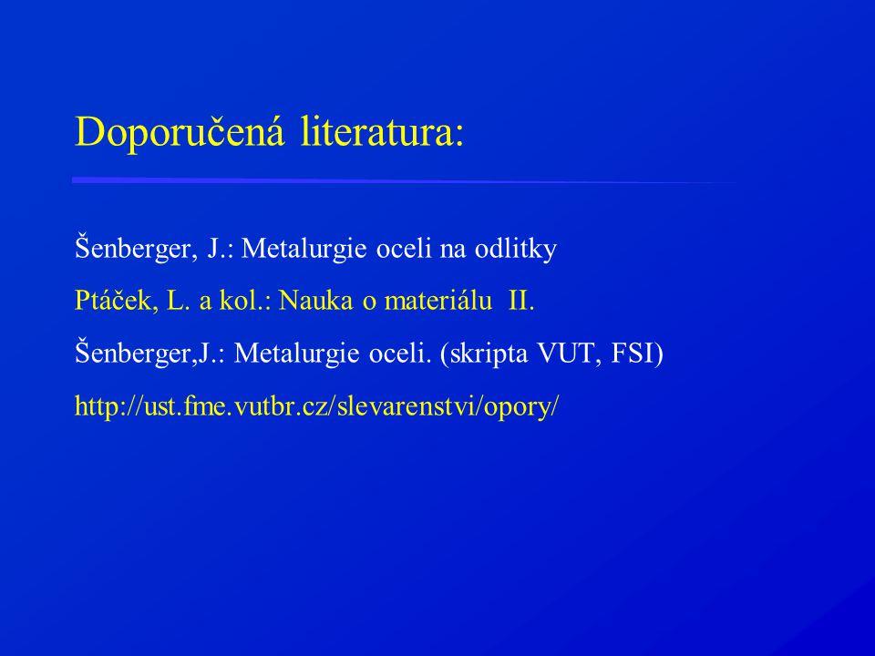 Doporučená literatura: Šenberger, J.: Metalurgie oceli na odlitky Ptáček, L. a kol.: Nauka o materiálu II. Šenberger,J.: Metalurgie oceli. (skripta VU