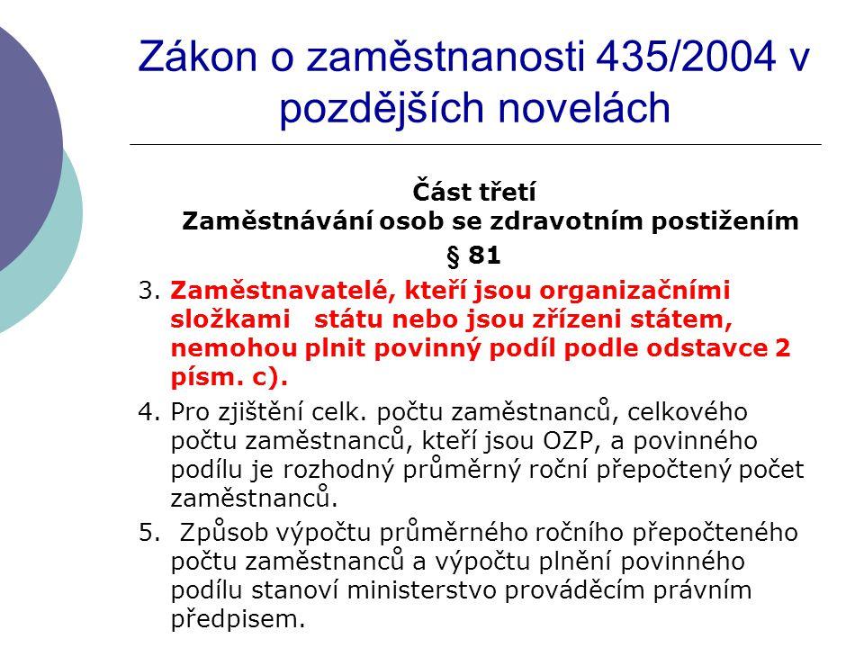 Zákon o zaměstnanosti 435/2004 v pozdějších novelách Část třetí Zaměstnávání osob se zdravotním postižením § 81 3.