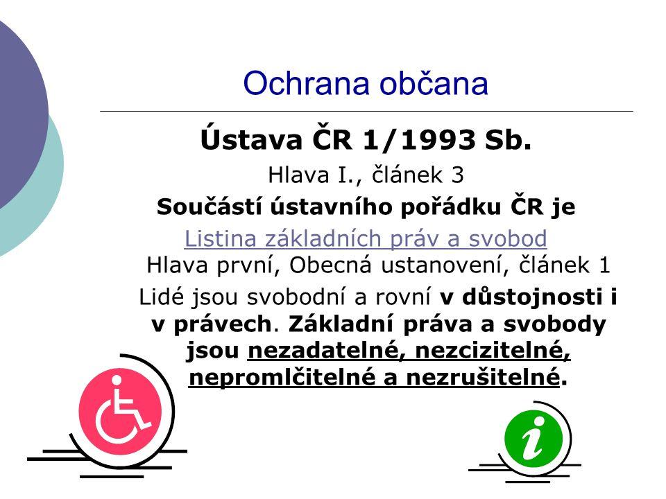 Ochrana občana Ústava ČR 1/1993 Sb.