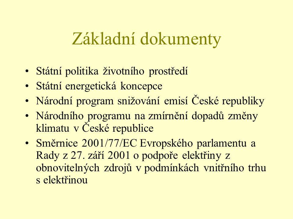Základní dokumenty Státní politika životního prostředí Státní energetická koncepce Národní program snižování emisí České republiky Národního programu
