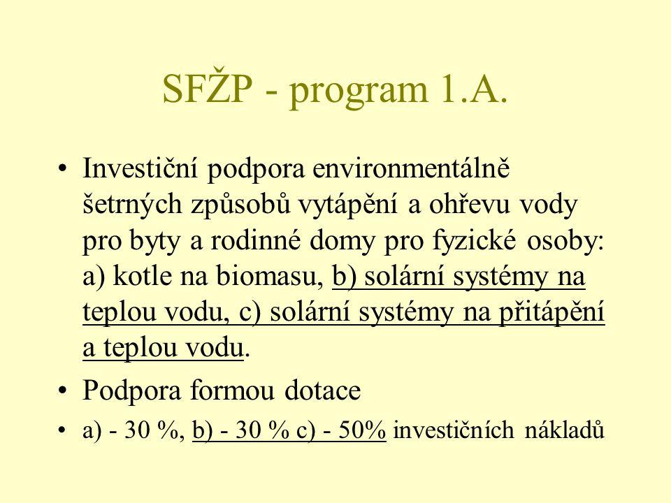 SFŽP - program 1.A. Investiční podpora environmentálně šetrných způsobů vytápění a ohřevu vody pro byty a rodinné domy pro fyzické osoby: a) kotle na