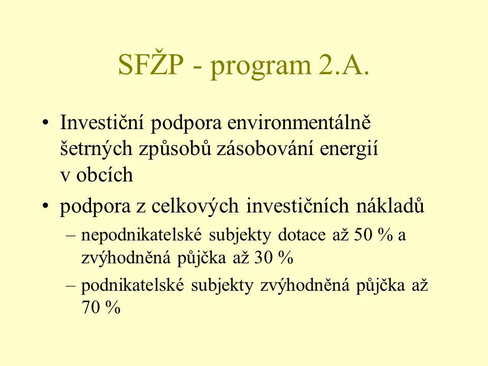 SFŽP - program 2.A. Investiční podpora environmentálně šetrných způsobů zásobování energií v obcích podpora z celkových investičních nákladů –nepodnik