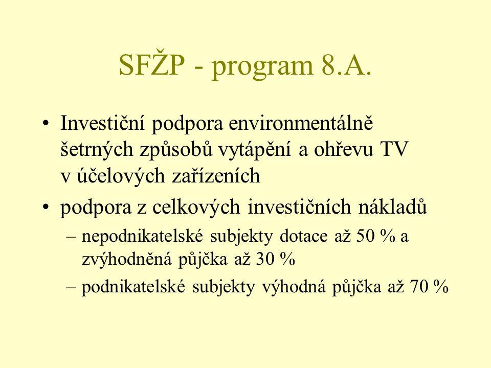 SFŽP - program 8.A. Investiční podpora environmentálně šetrných způsobů vytápění a ohřevu TV v účelových zařízeních podpora z celkových investičních n