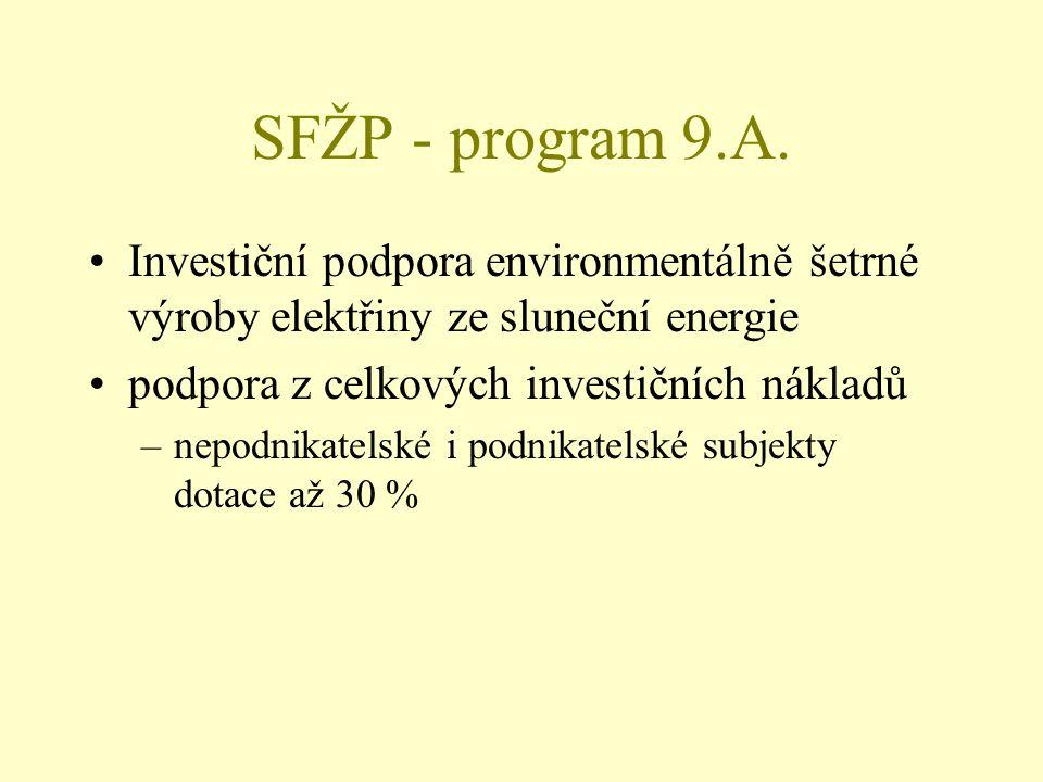 SFŽP - program 9.A. Investiční podpora environmentálně šetrné výroby elektřiny ze sluneční energie podpora z celkových investičních nákladů –nepodnika