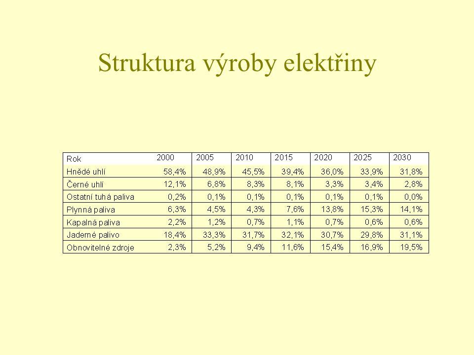 Struktura výroby elektřiny
