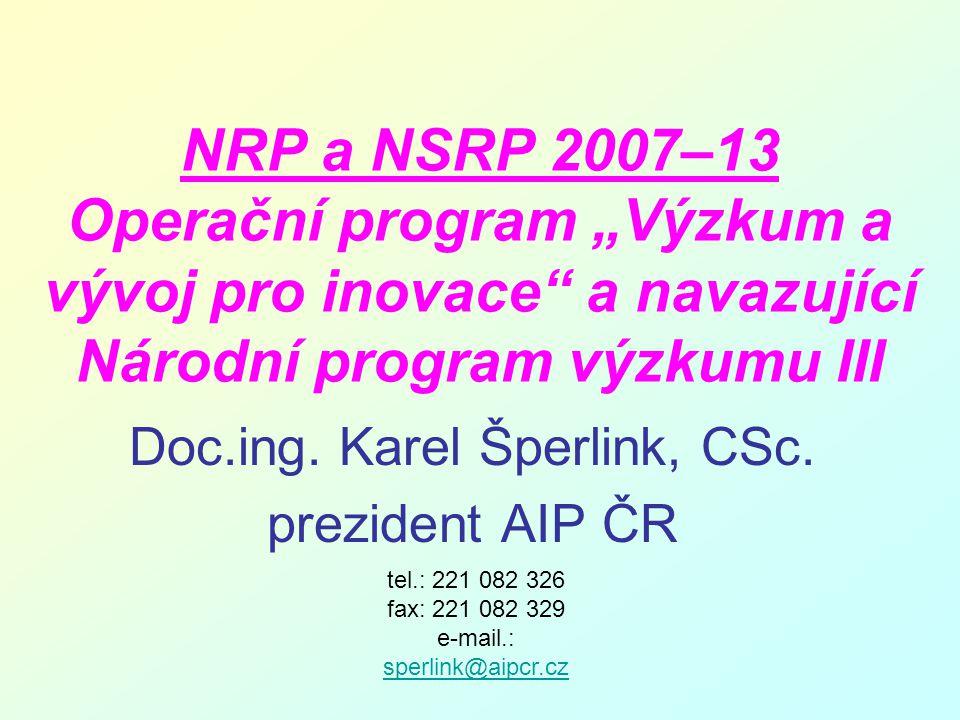"""NRP a NSRP 2007–13 Operační program """"Výzkum a vývoj pro inovace a navazující Národní program výzkumu III Doc.ing."""