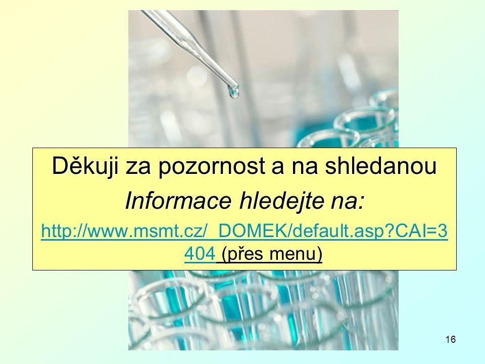 16 Děkuji za pozornost a na shledanou Informace hledejte na: http://www.msmt.cz/_DOMEK/default.asp CAI=3 404http://www.msmt.cz/_DOMEK/default.asp CAI=3 404 (přes menu) http://www.msmt.cz/_DOMEK/default.asp CAI=3 404