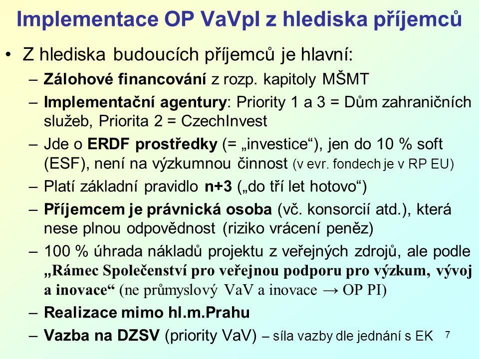 7 Implementace OP VaVpI z hlediska příjemců Z hlediska budoucích příjemců je hlavní: –Zálohové financování z rozp.