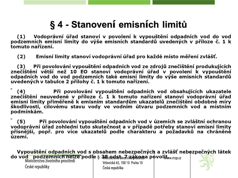 Stanoven í emisn í ch limitů § 4 - Stanoven í emisn í ch limitů (1) Vodoprávní úřad stanoví v povolení k vypouštění odpadních vod do vod podzemních emisní limity do výše emisních standardů uvedených v příloze č.