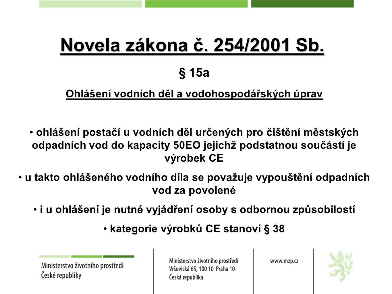 Novela zákona č.254/2001 Sb.