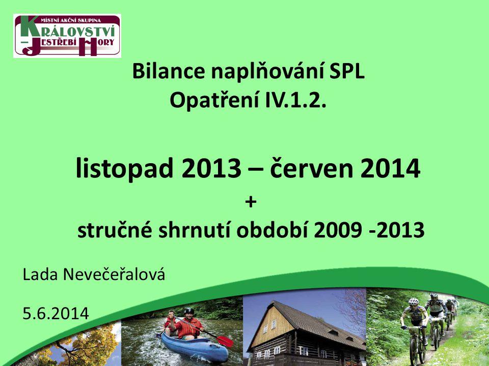 Bilance naplňování SPL Opatření IV.1.2. listopad 2013 – červen 2014 + stručné shrnutí období 2009 -2013 Lada Nevečeřalová 5.6.2014