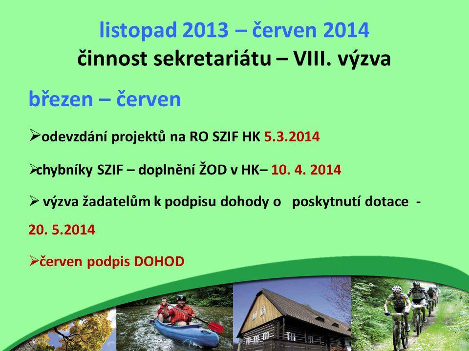 listopad 2013 – červen 2014 činnost sekretariátu – VIII. výzva březen – červen  odevzdání projektů na RO SZIF HK 5.3.2014  chybníky SZIF – doplnění