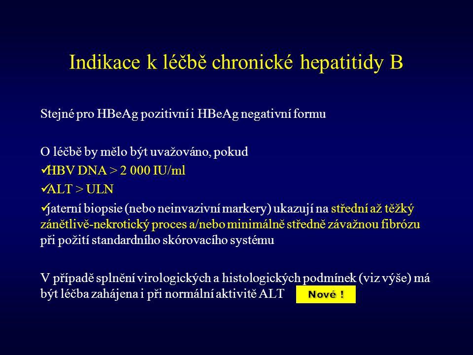 Indikace k léčbě chronické hepatitidy B Stejné pro HBeAg pozitivní i HBeAg negativní formu O léčbě by mělo být uvažováno, pokud HBV DNA > 2 000 IU/ml