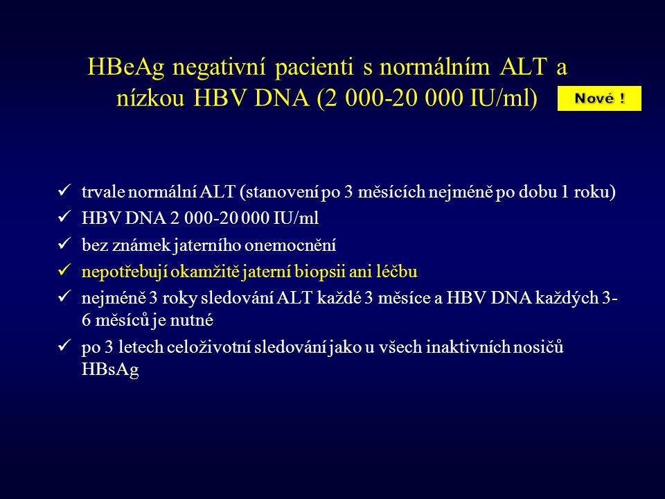 HBeAg negativní pacienti s normálním ALT a nízkou HBV DNA (2 000-20 000 IU/ml) trvale normální ALT (stanovení po 3 měsících nejméně po dobu 1 roku) HB