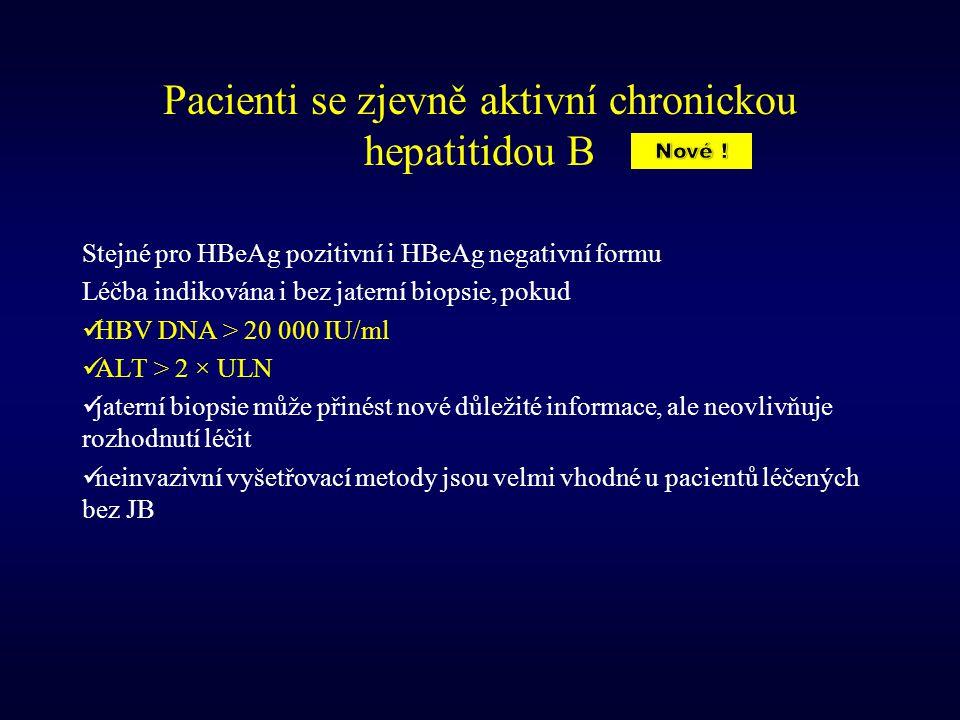 Pacienti se zjevně aktivní chronickou hepatitidou B Stejné pro HBeAg pozitivní i HBeAg negativní formu Léčba indikována i bez jaterní biopsie, pokud H