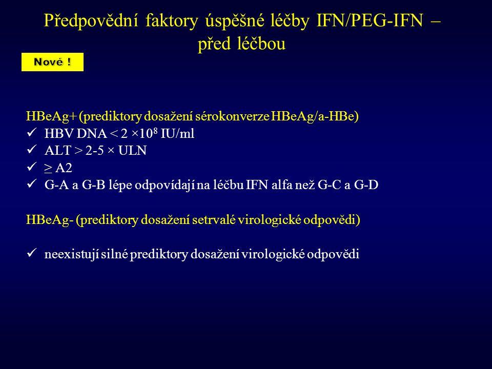 Předpovědní faktory úspěšné léčby IFN/PEG-IFN – před léčbou HBeAg+ (prediktory dosažení sérokonverze HBeAg/a-HBe) HBV DNA < 2 ×10 8 IU/ml ALT > 2-5 ×