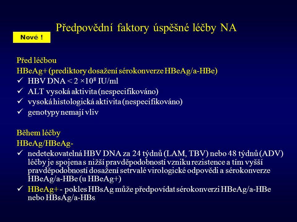 Předpovědní faktory úspěšné léčby NA Před léčbou HBeAg+ (prediktory dosažení sérokonverze HBeAg/a-HBe) HBV DNA < 2 ×10 8 IU/ml ALT vysoká aktivita (ne