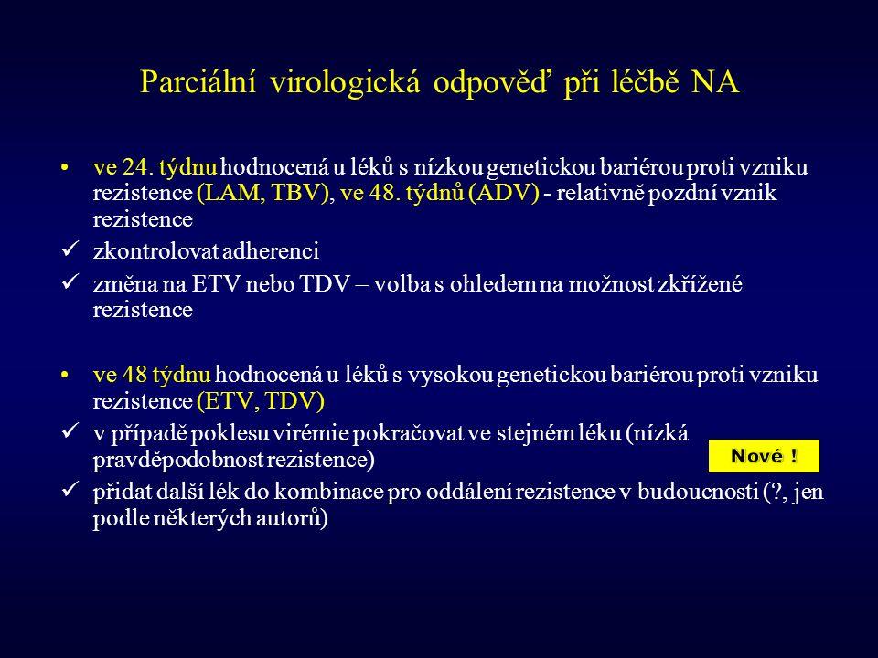 Parciální virologická odpověď při léčbě NA ve 24. týdnu hodnocená u léků s nízkou genetickou bariérou proti vzniku rezistence (LAM, TBV), ve 48. týdnů