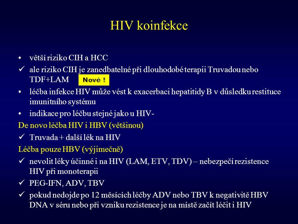 HIV koinfekce větší riziko CIH a HCC ale riziko CIH je zanedbatelné při dlouhodobé terapii Truvadou nebo TDF+LAM léčba infekce HIV může vést k exacerb