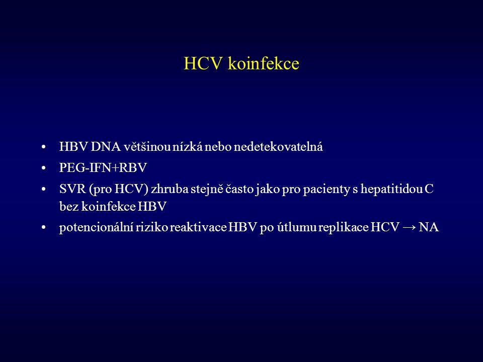 HCV koinfekce HBV DNA většinou nízká nebo nedetekovatelná PEG-IFN+RBV SVR (pro HCV) zhruba stejně často jako pro pacienty s hepatitidou C bez koinfekc