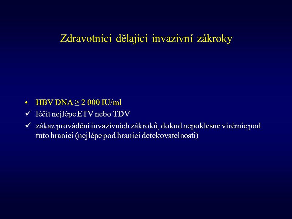 Zdravotníci dělající invazivní zákroky HBV DNA ≥ 2 000 IU/ml léčit nejlépe ETV nebo TDV zákaz provádění invazivních zákroků, dokud nepoklesne virémie