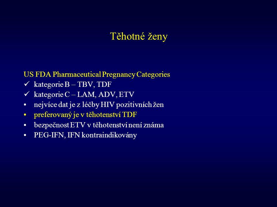 Těhotné ženy US FDA Pharmaceutical Pregnancy Categories kategorie B – TBV, TDF kategorie C – LAM, ADV, ETV nejvíce dat je z léčby HIV pozitivních žen