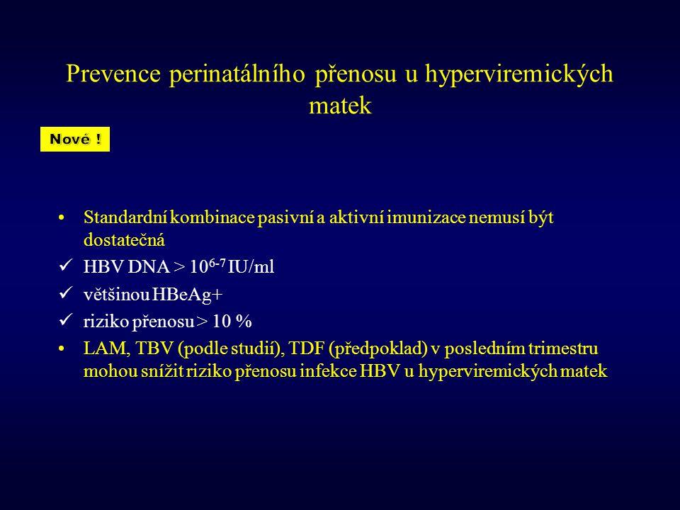 Prevence perinatálního přenosu u hyperviremických matek Standardní kombinace pasivní a aktivní imunizace nemusí být dostatečná HBV DNA > 10 6-7 IU/ml