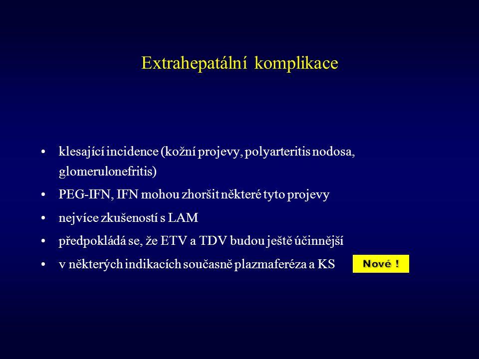 Extrahepatální komplikace klesající incidence (kožní projevy, polyarteritis nodosa, glomerulonefritis) PEG-IFN, IFN mohou zhoršit některé tyto projevy