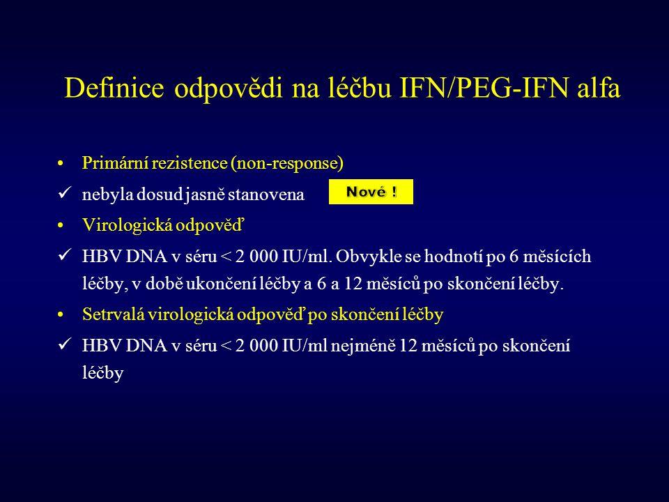 Definice odpovědi na léčbu IFN/PEG-IFN alfa Primární rezistence (non-response) nebyla dosud jasně stanovena Virologická odpověď HBV DNA v séru < 2 000