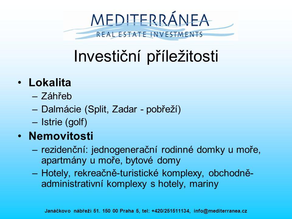 Janáčkovo nábřeží 51. 150 00 Praha 5, tel: +420/251511134, info@mediterranea.cz Investiční příležitosti Lokalita –Záhřeb –Dalmácie (Split, Zadar - pob