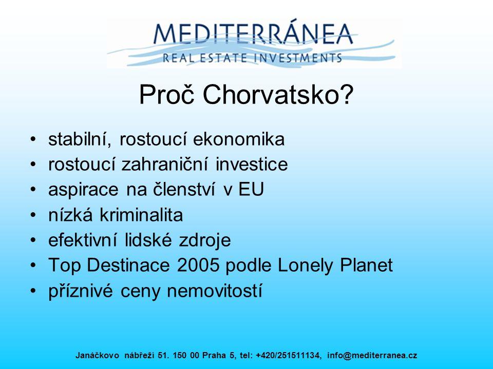 Janáčkovo nábřeží 51. 150 00 Praha 5, tel: +420/251511134, info@mediterranea.cz Proč Chorvatsko? stabilní, rostoucí ekonomika rostoucí zahraniční inve