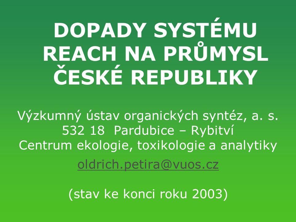 DOPADY SYSTÉMU REACH NA PRŮMYSL ČESKÉ REPUBLIKY Výzkumný ústav organických syntéz, a. s. 532 18 Pardubice – Rybitví Centrum ekologie, toxikologie a an