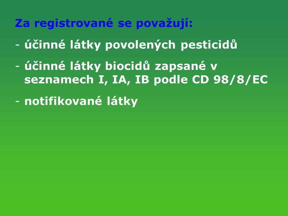 Za registrované se považují: -účinné látky povolených pesticidů -účinné látky biocidů zapsané v seznamech I, IA, IB podle CD 98/8/EC -notifikované lát