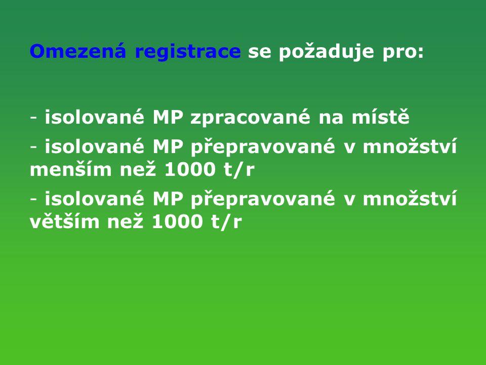 Omezená registrace se požaduje pro: - isolované MP zpracované na místě - isolované MP přepravované v množství menším než 1000 t/r - isolované MP přepr