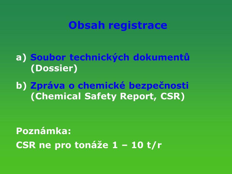 Obsah registrace a)Soubor technických dokumentů (Dossier) b)Zpráva o chemické bezpečnosti (Chemical Safety Report, CSR) Poznámka: CSR ne pro tonáže 1