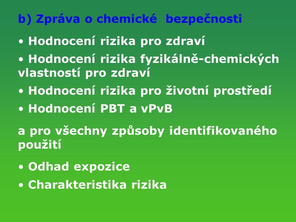 b) Zpráva o chemické bezpečnosti Hodnocení rizika pro zdraví Hodnocení rizika fyzikálně-chemických vlastností pro zdraví Hodnocení rizika pro životní