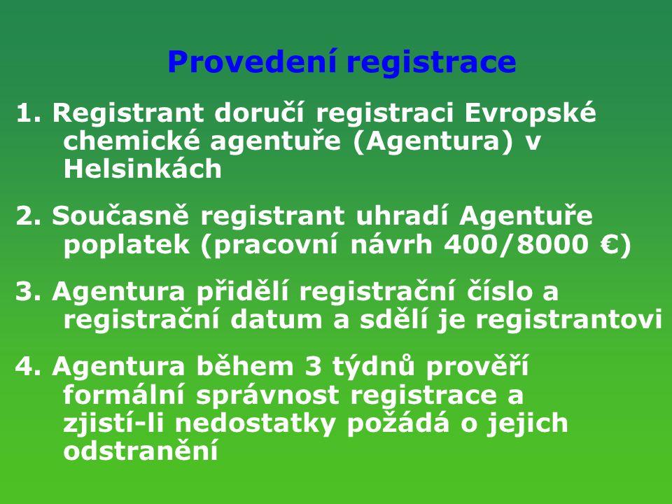 Provedení registrace 1. Registrant doručí registraci Evropské chemické agentuře (Agentura) v Helsinkách 2. Současně registrant uhradí Agentuře poplate