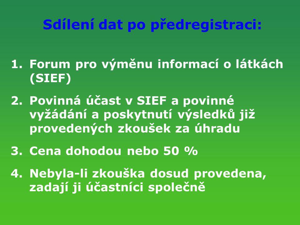 Sdílení dat po předregistraci: 1.Forum pro výměnu informací o látkách (SIEF) 2.Povinná účast v SIEF a povinné vyžádání a poskytnutí výsledků již prove