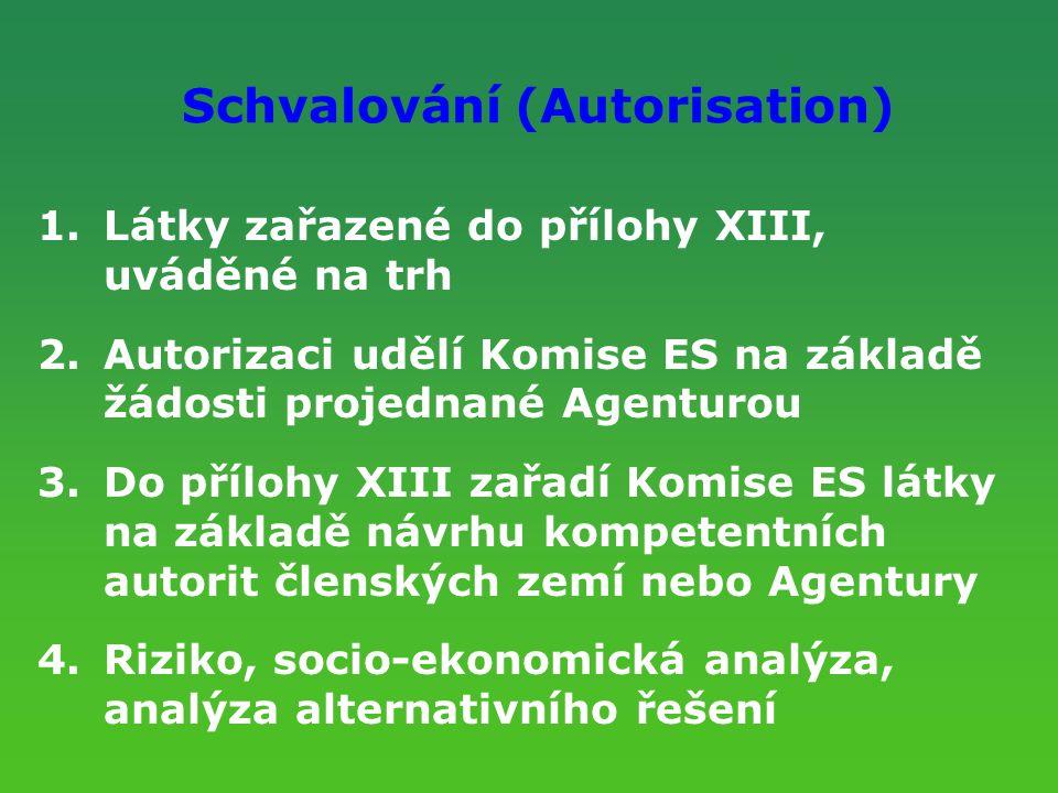 Schvalování (Autorisation) 1.Látky zařazené do přílohy XIII, uváděné na trh 2.Autorizaci udělí Komise ES na základě žádosti projednané Agenturou 3.Do